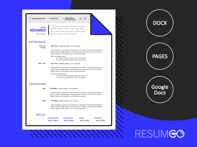 HERMES - Free Modern Resume Template with blue corner - ResumGO