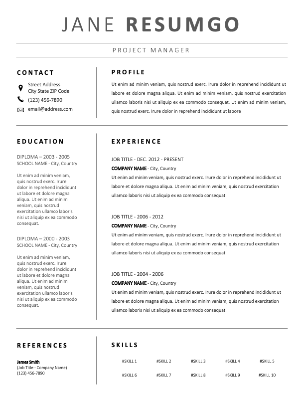LETO - Free Professional Black and White Resume Template