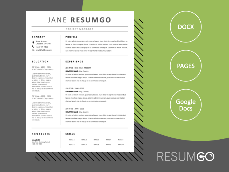LETO - Free Professional Black and White Resume Template - ResumGO