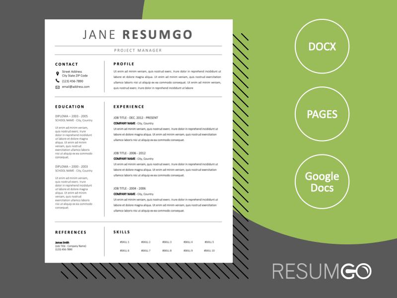 LETO - Free Professional Black and White Resume Template - ResumGO