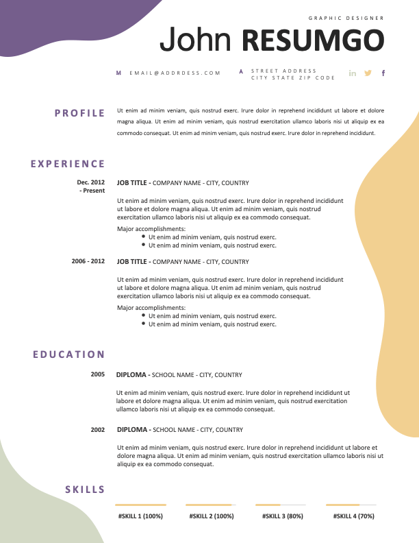 AENEAS - Free Modern Resume Template with wavy patterns
