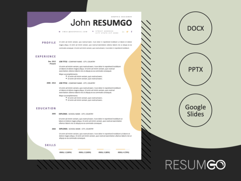 AENEAS - Free Modern Resume Template with wavy patterns - ResumGO