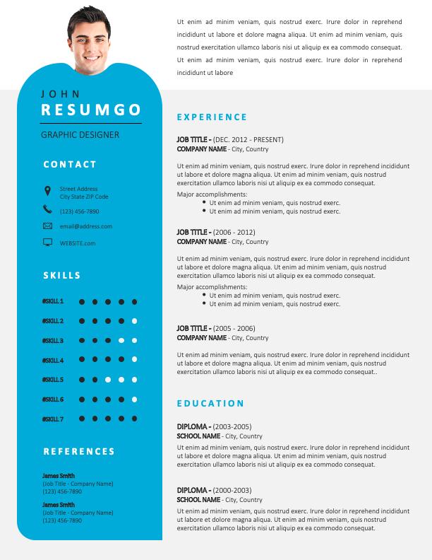 ALVALADE - Free Original Resume Template with photo