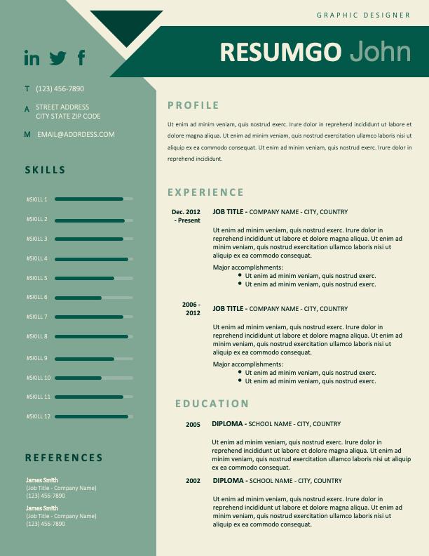 BONFIM - Free Resume Template with geometric design