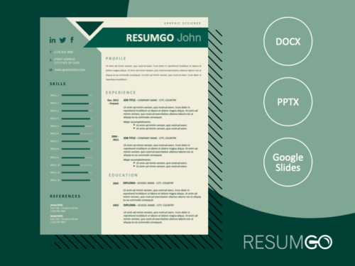 BONFIM - Free Resume Template with geometric design - ResumGO