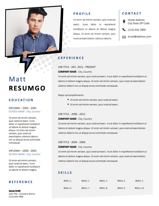 DENNISTOUN - Free Resume Template with Speech bubble photo frame