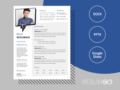 DENNISTOUN - Free Resume Template with Speech bubble photo frame - ResumGO