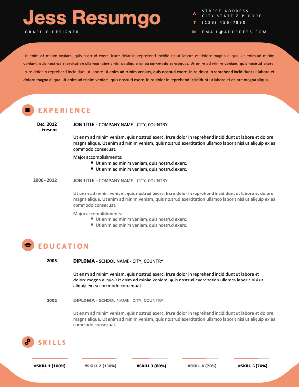 ESQUERRA - Free Modern Resume Template with black header