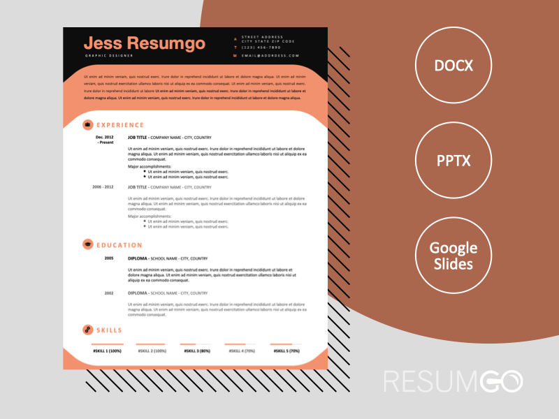 ESQUERRA - Free Modern Resume Template with black header - ResumGO