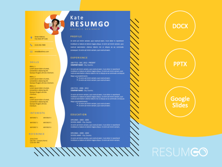 KALAMAJA - Free Resume Template with beach and sea design - ResumGO