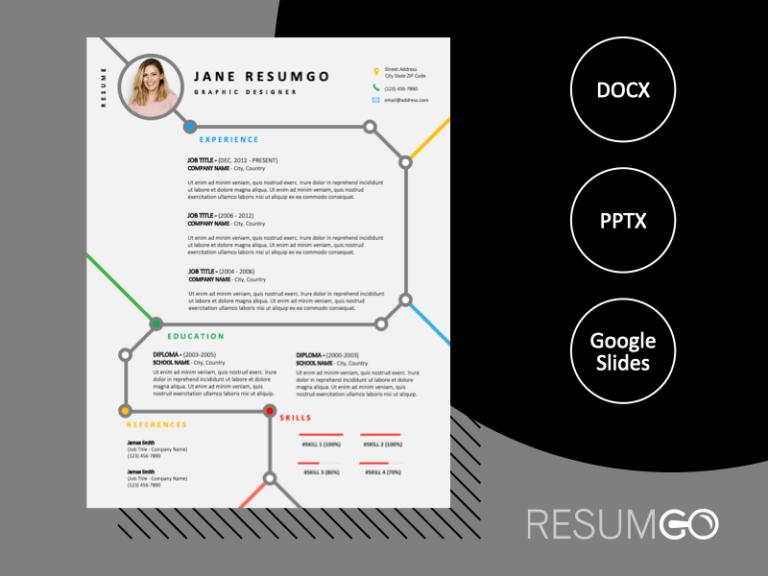 MARAIS - Free Resume Template with subway map design - ResumGO