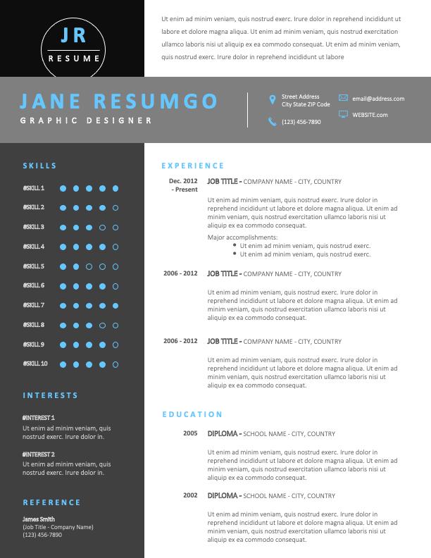 NARVARTE - Free Modern Resume Template in black and white