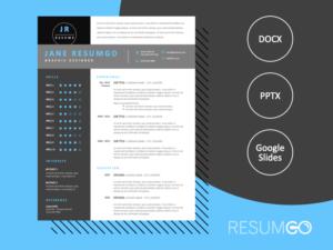 NARVARTE - Free Modern Resume Template in black and white - ResumGO
