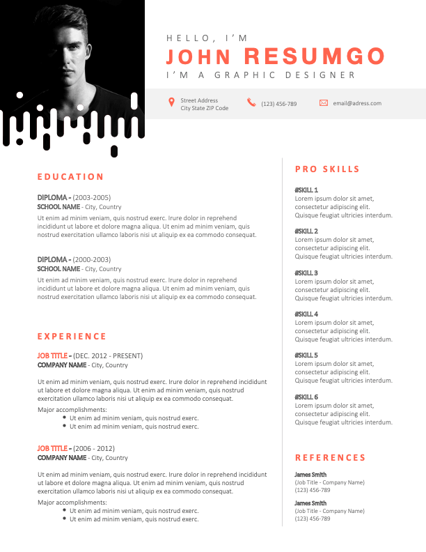 NOORD - Free Modern Resume Template with original photo frame