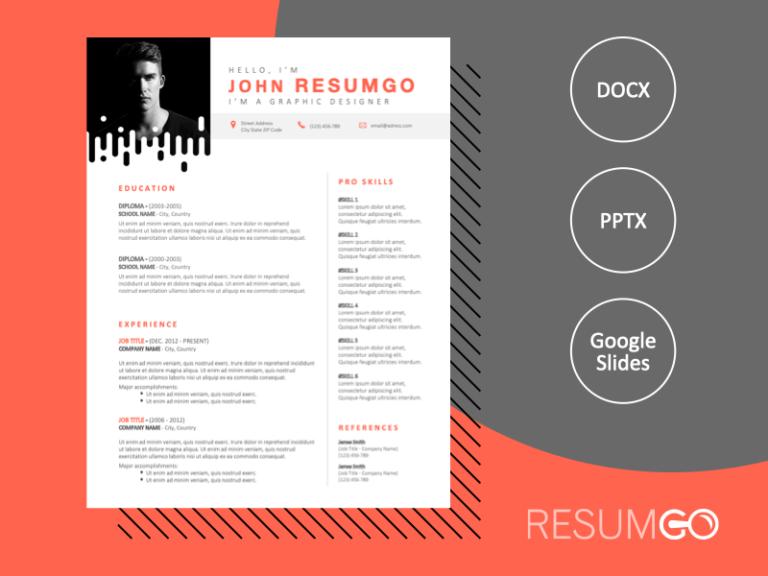 NOORD - Free Modern Resume Template with original photo frame - ResumGO