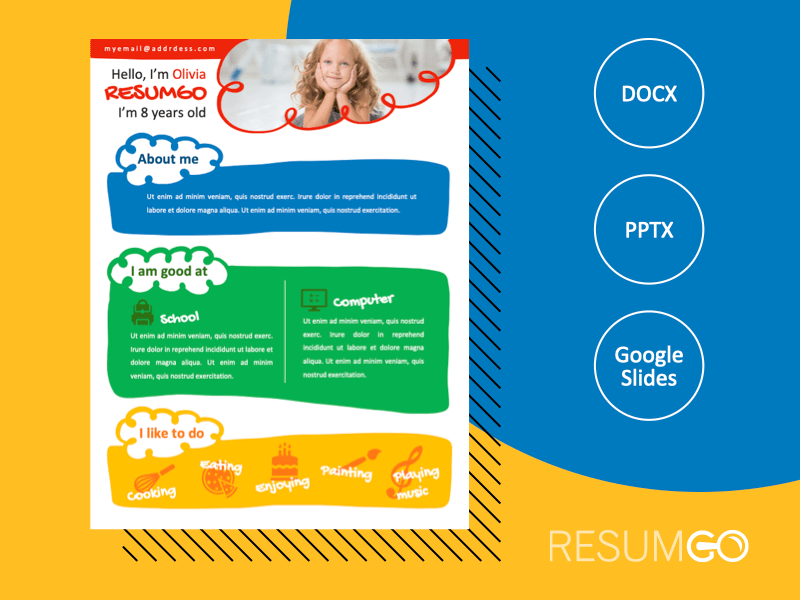 NORREBRO - Free Colorful Resume Template for Kids - ResumGO