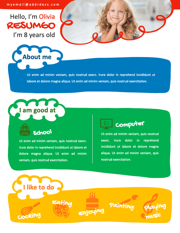 NORREBRO - Free Colorful Resume Template for Kids