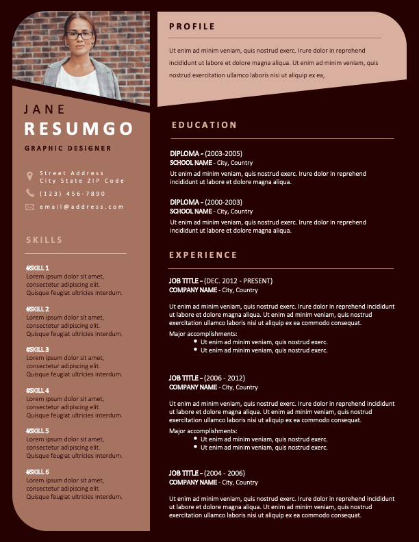 OPEBI - Free Resume Template with brown backgrounds