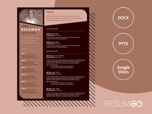 OPEBI - Free Resume Template with brown backgrounds - ResumGO