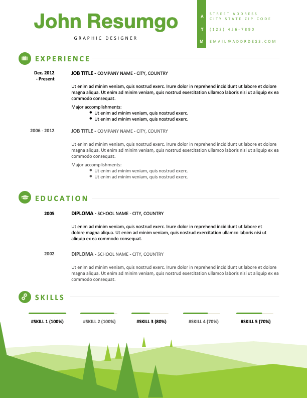 SEMELE - Free Resume Template with a green landscape footer