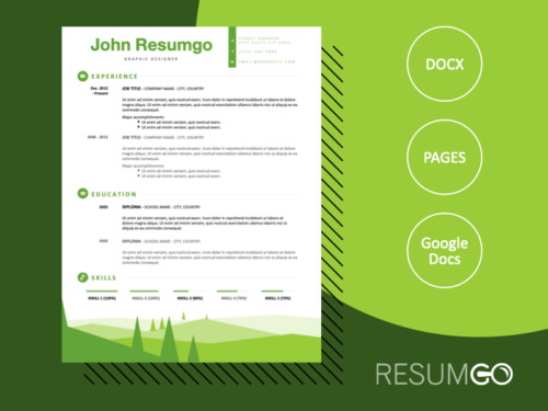 SEMELE - Free Resume Template with a green landscape footer - ResumGO