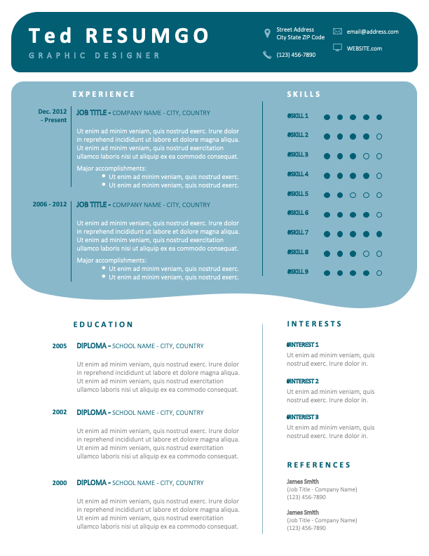 VERDUN - Free Modern Resume Template with blue-green boxes