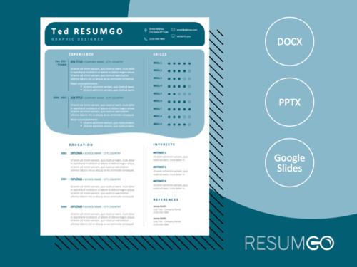VERDUN - Free Modern Resume Template with blue-green boxes - ResumGO
