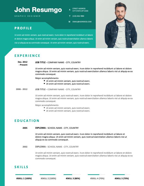 WYNWOOD - Free Modern Resume Template with green header