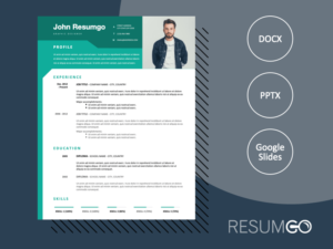 WYNWOOD - Free Modern Resume Template with green header - ResumGO