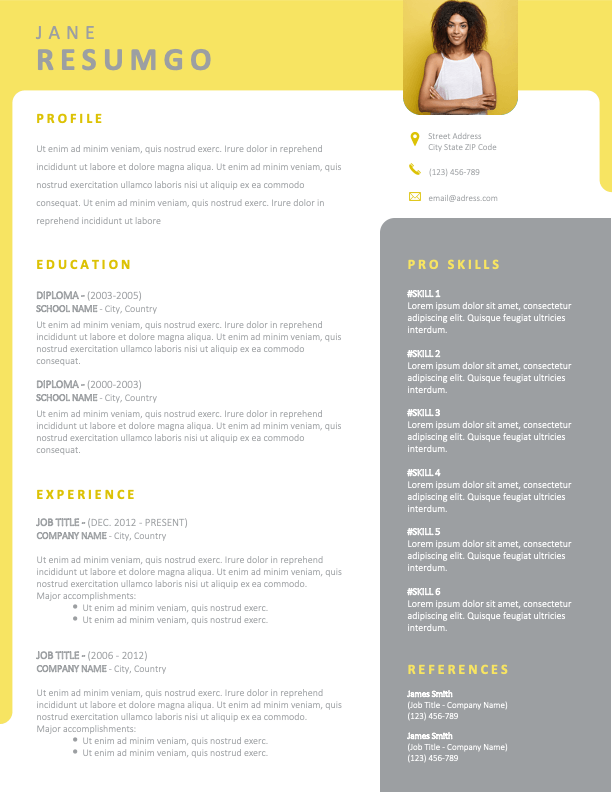 YARRAVILLE - Free Gray and Yellow Resume Template with photo