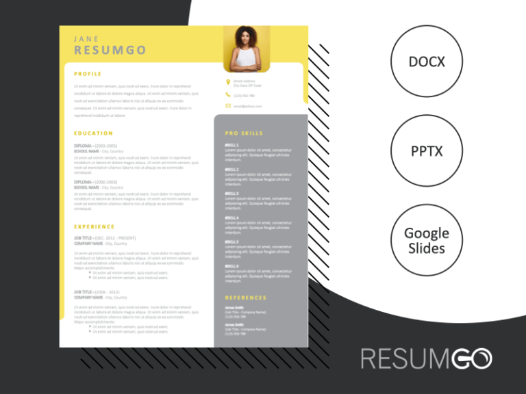 YARRAVILLE - Free Gray and Yellow Resume Template with photo - ResumGO