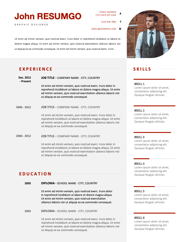 BACONGO - Free Refined Resume Template With Red Elements