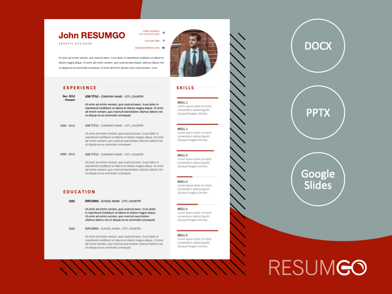 BACONGO - Free Refined Resume Template With Red Elements - ResumGO