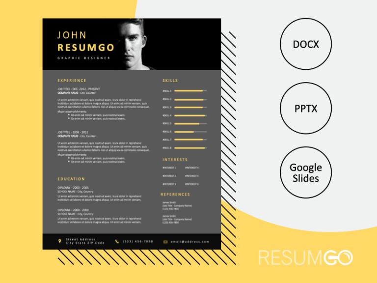 BUGIS - Free Elegant Resume Template With Black Header - ResumGO