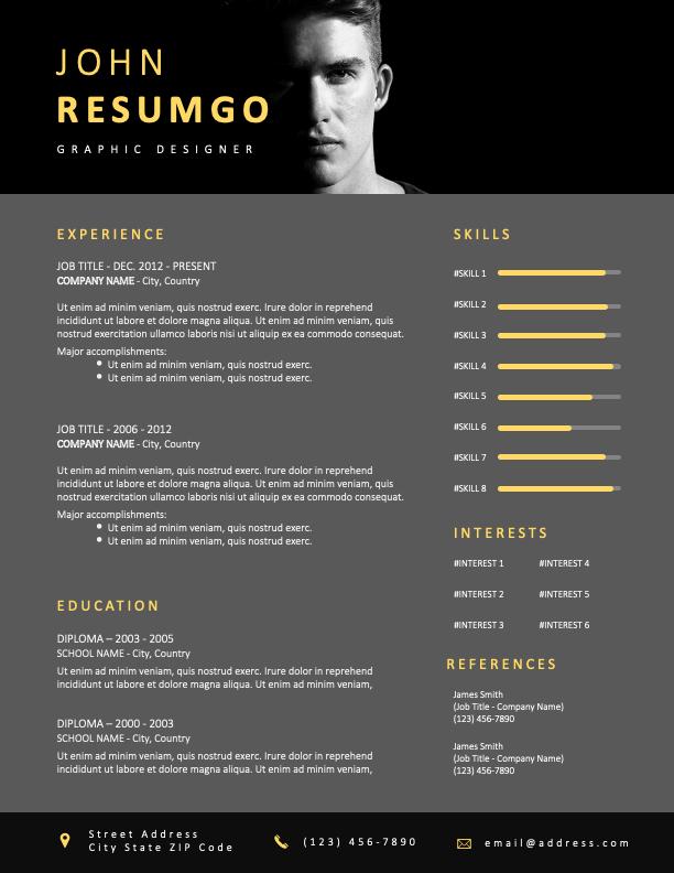 BUGIS - Free Elegant Resume Template With Black Header