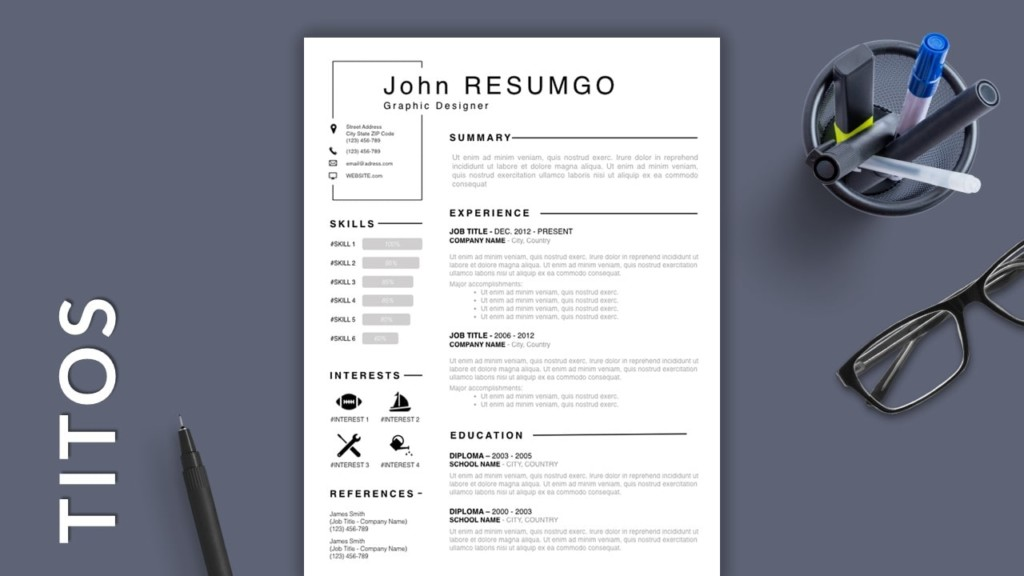 Black and White Free Modern Resume Template