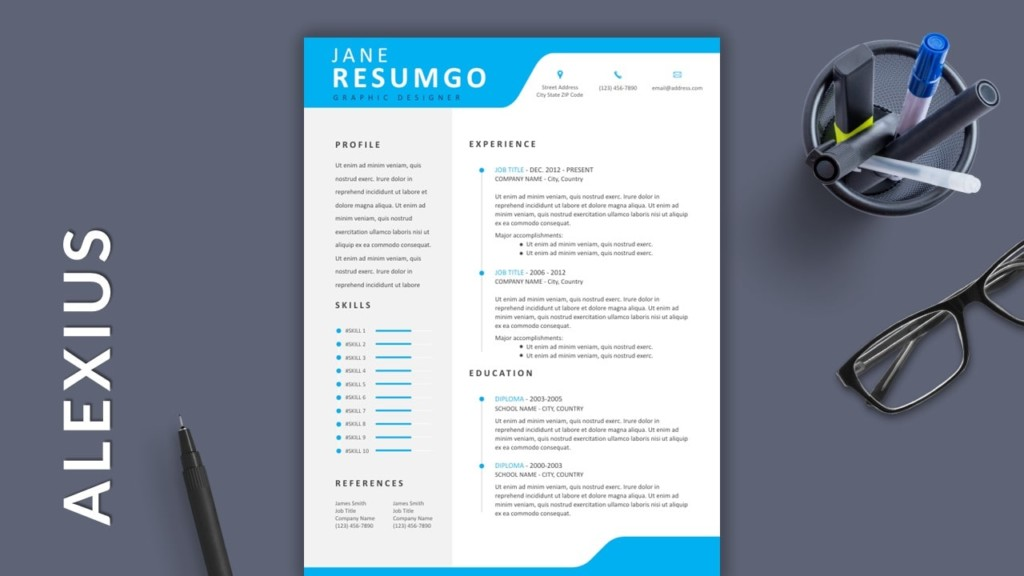Blue Free Modern Resume Template