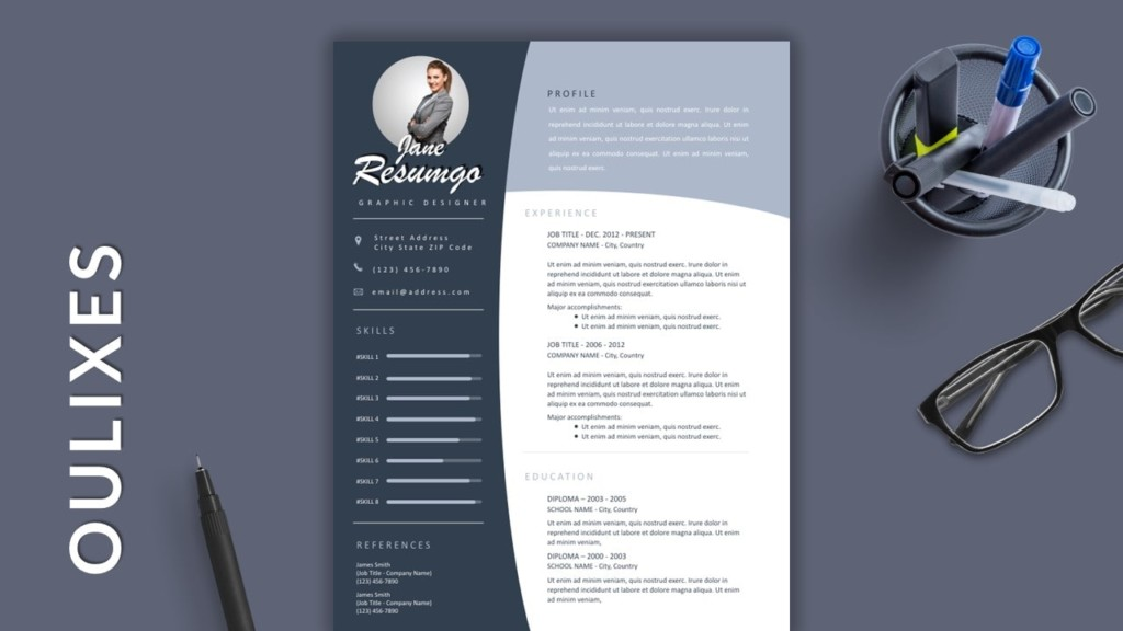 Curve Free Modern Resume Template