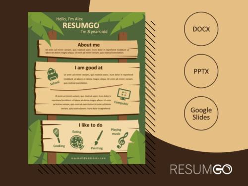 DALSTON - Free Fun Resume Template For Kids - ResumGO