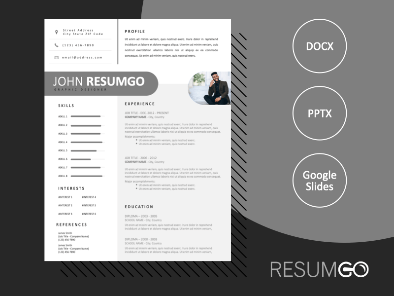 GEMMAYZE - Free Clean White and Gray Resume Template - ResumGO