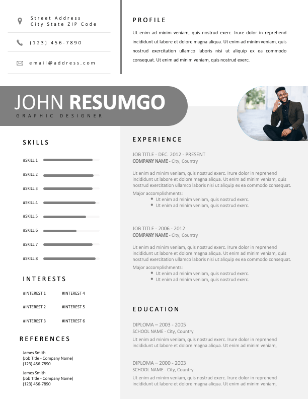 GEMMAYZE - Free Clean White and Gray Resume Template