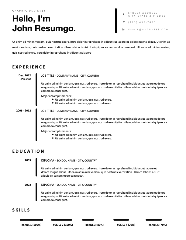 GONGGUAN - Free Classic and Professional Resume Template