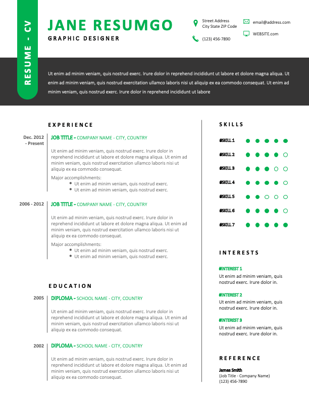 HARLEM - Free Outstanding Resume Template With a Green Touch