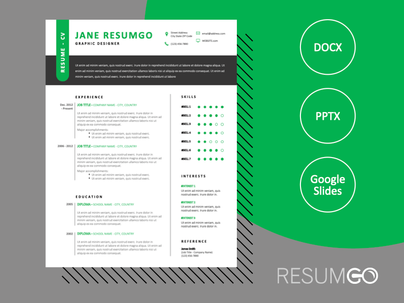 HARLEM - Free Outstanding Resume Template With a Green Touch - ResumGO