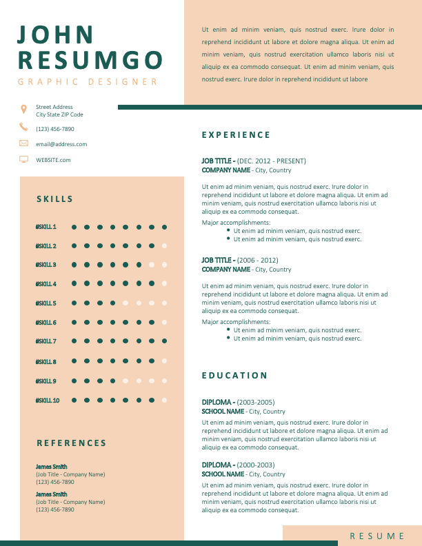 KOLONAKI - Free White and Light Orange Resume Template