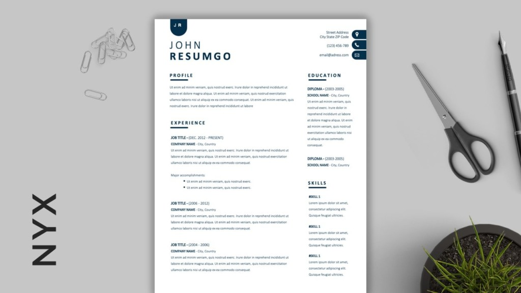Nyx - Two-Column Simple Resume Template