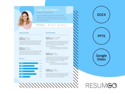 PHIBSBORO - Free Blue Modern Resume Template - ResumGO
