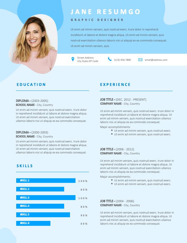 PHIBSBORO - Free Blue Modern Resume Template