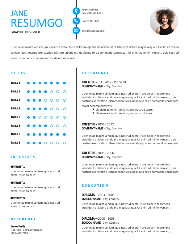PLATEAU - Free Resume Template With Sky-Blue Font and a White Background