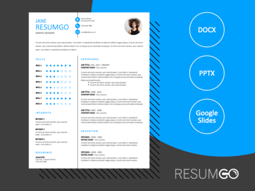 PLATEAU - Free Resume Template With Sky-Blue Font and a White Background - ResumGO